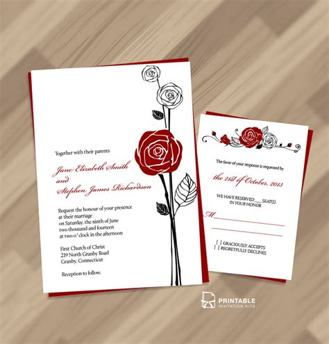 Red Rose Invitation and RSVP ← Wedding Invitation