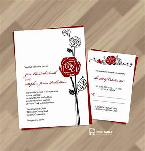 red rose invitation and rsvp wedding invitation With free printable rose wedding invitations