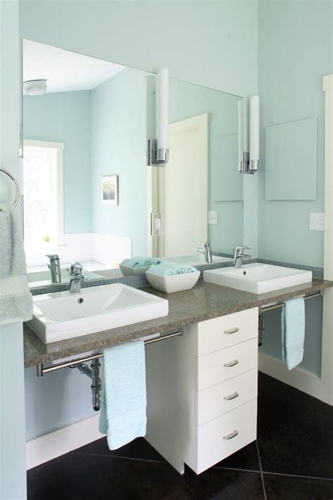Handicapped Bathroom Sinks by Two White Sinks With Brown Marble Vanity Towel Rack