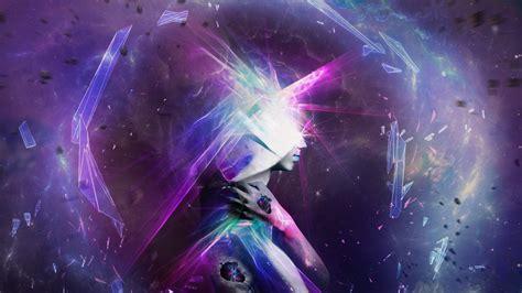 head profile hands digital art fantasy art glowing