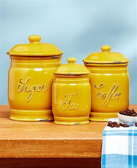 yellow storage jars kitchen new 3pc classic ceramic canister set embossed sugar coffee 1699