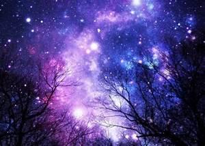 Black Trees Purple Blue Space by 2sweet4wordsDesigns ...