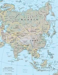 Kaart Azië: Kaart topografie landen Azië