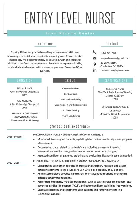 Nursing Resume by Entry Level Resume Sle Resume Genius