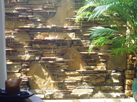 water wall waterfall contemporary patio