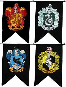 Harry Potter HOUSE WALL 4 BANNER SET Ravenclaw Slytherin ...