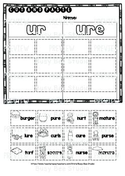 ur ure sorts cut and paste worksheets by busy bee studio