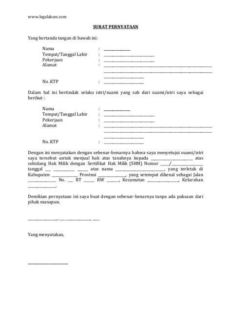 surat persetujuan suami istri  menjual tanah bangunan