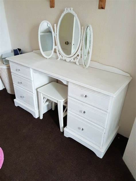 white solid wood dressing table  mirror  chair