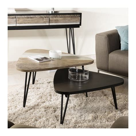 table basse triangulaire bois massif so inside