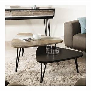Table Basse Noire Triangulaire Bois Massif Alice So Inside