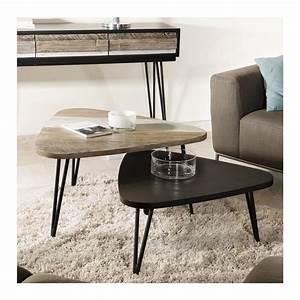 Table Basse Bois : table basse noire triangulaire bois massif alice so inside ~ Teatrodelosmanantiales.com Idées de Décoration