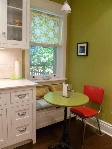 small window seat in kitchen   clever idea for small space