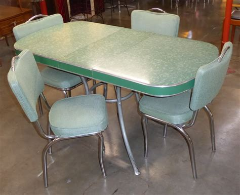 retro dining table with leaf vintage green chrome dinette set table with leaf 7778
