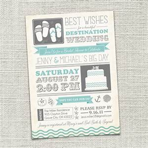 Bridal shower invitation beach destination wedding beach for Destination wedding bridal shower invitations