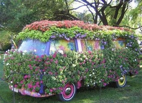 Unique Garden Gifts - cool flower covered vw homework inspiration