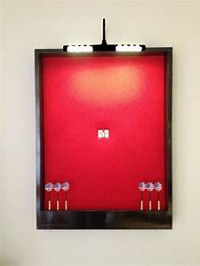 Lighted Red W  Black Trim Dart Board Cabinet W  Led Cordless