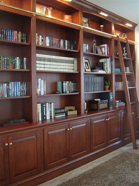 Customized Bookshelf by Custom Made Bookcase Wall With Ladder By Odhner Odhner