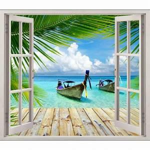 Poster Mural Nature : stickers fen tre d co sous les tropiques art d co stickers ~ Teatrodelosmanantiales.com Idées de Décoration