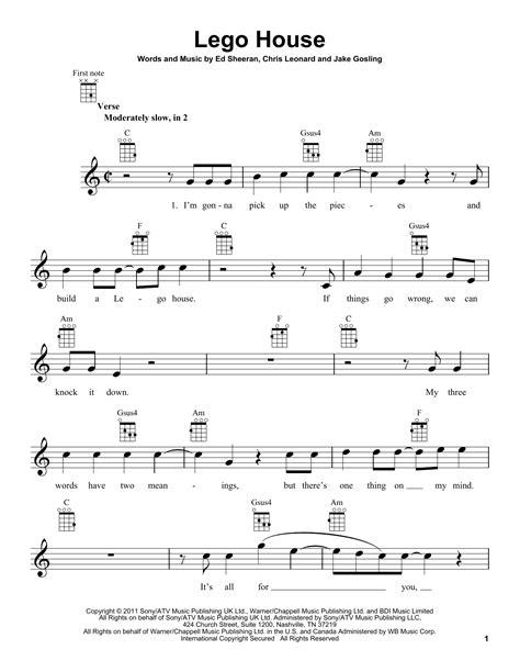 lego house sheet music direct