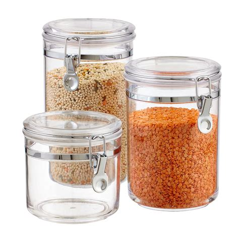 food canisters kitchen hermetic acrylic canisters the container store
