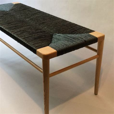 Chair Bench by Our Rlb44 Woven Bench In Ash With Black