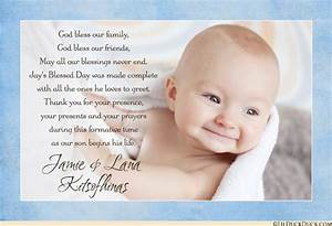 Blessed baby photo thank you card christening baptism for Baptism thank you card template
