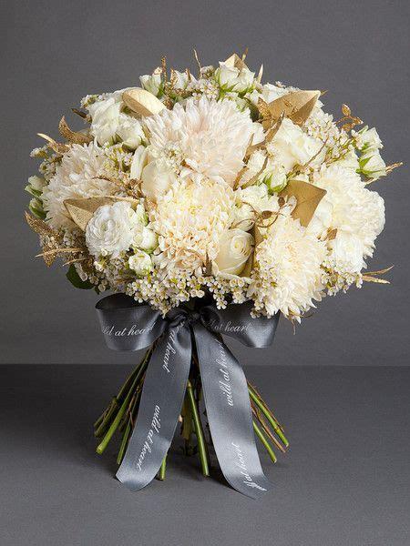 white  gold vintage wedding flower bouquet bridal
