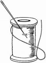 Sewing Clipart Clip Tattoo Thread Bobbin Needle Spools Scissors Inspiration Line Cricut Tape sketch template
