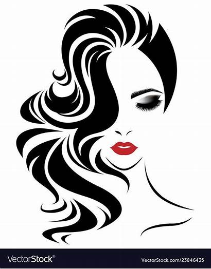 Face Icon Vectorstock Silhouette Woman Makeup Drawing