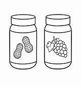 Butter Peanut Coloring Jelly Pages Jar Silhouette Grape Cream Ice Clip Clipart sketch template