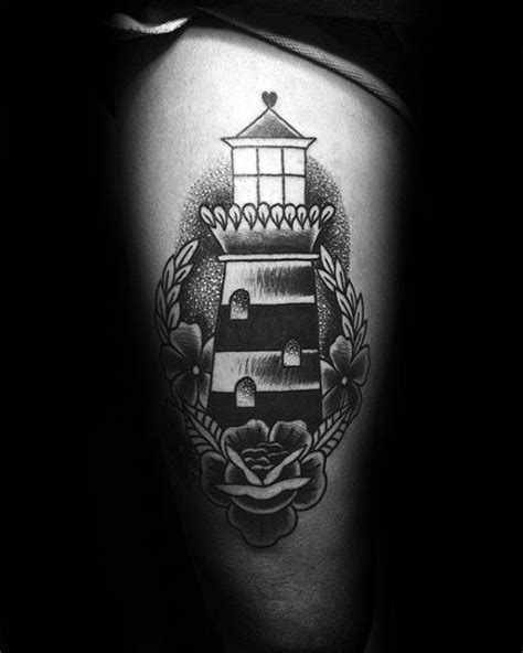 40 Traditional Lighthouse Tattoo Designs For Men - Old School