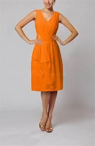 orange romantic column v neck chiffon ribbon wedding guest With orange wedding guest dress