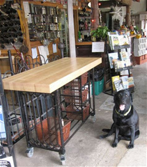 wrought iron kitchen island black dog salvage architectural antiques custom designs butcher block antique wrought