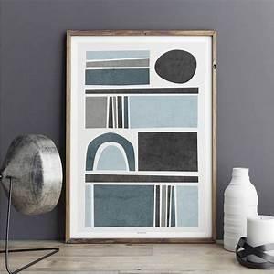 Abstract, Wall, Art, Prints, -, Living, Room, Art, -, Blue, Grey, Wall, Art, -, Minimalist, Print