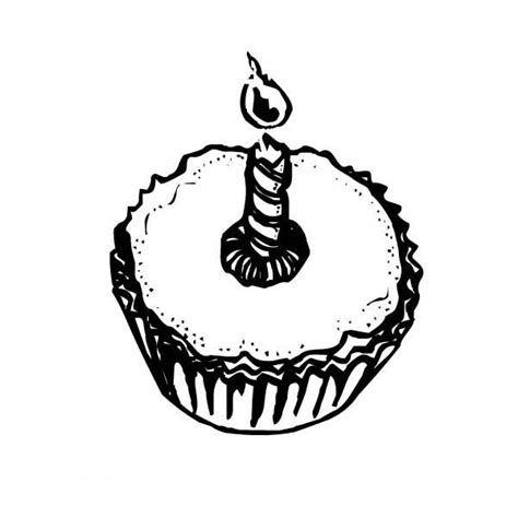 Cupcakes With Candle Light Coloring Pages Netart