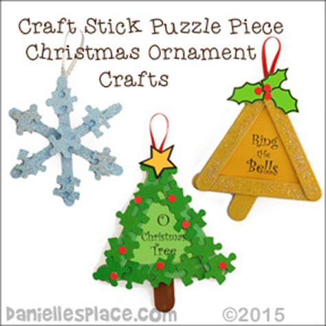 Craft Stick Christmas Ornaments  Tree, Bell, And