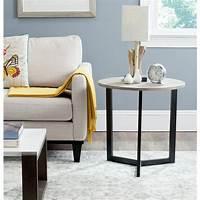 oak accent tables Safavieh Ballard Oak and Black Storage End Table-FOX4213A ...