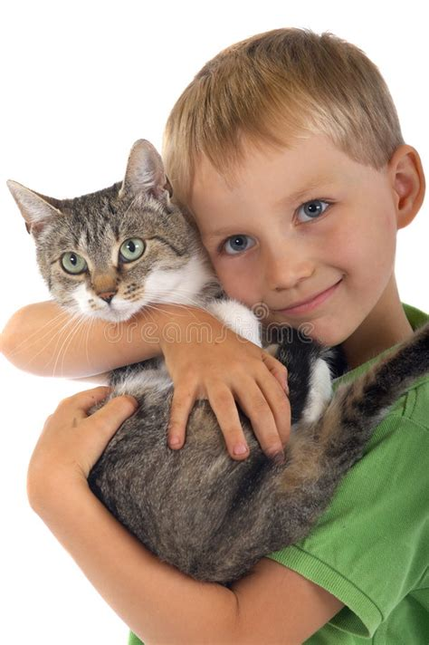 Young Boy With Cat Stock Photo Image Of Kitty, Children