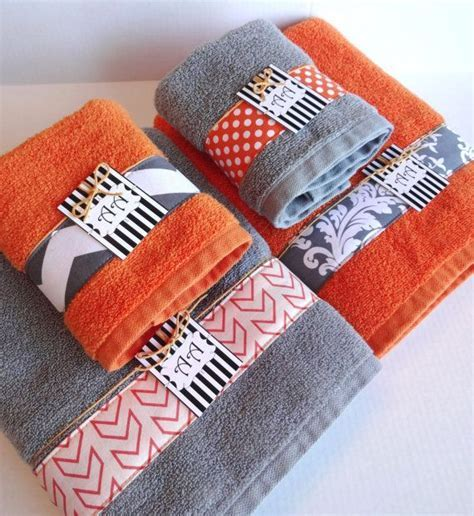Bath towels, Orange grey and Towels on Pinterest