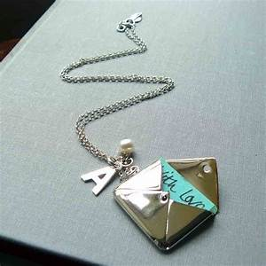 silver envelope locket necklace with letter by lime tree With envelope necklace with letter