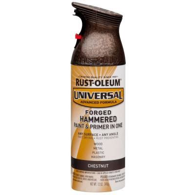 rust oleum universal 12 oz all surface forged hammered chestnut spray paint and primer in one