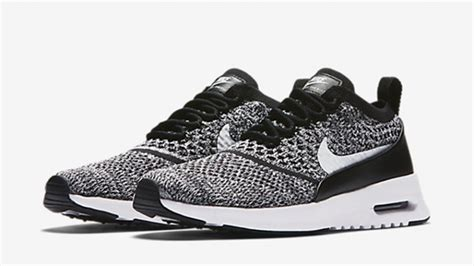 nike air max thea flyknit black white womens the sole