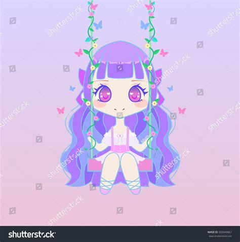 anime chibi sitting chibi anime sitting on swing stock vector
