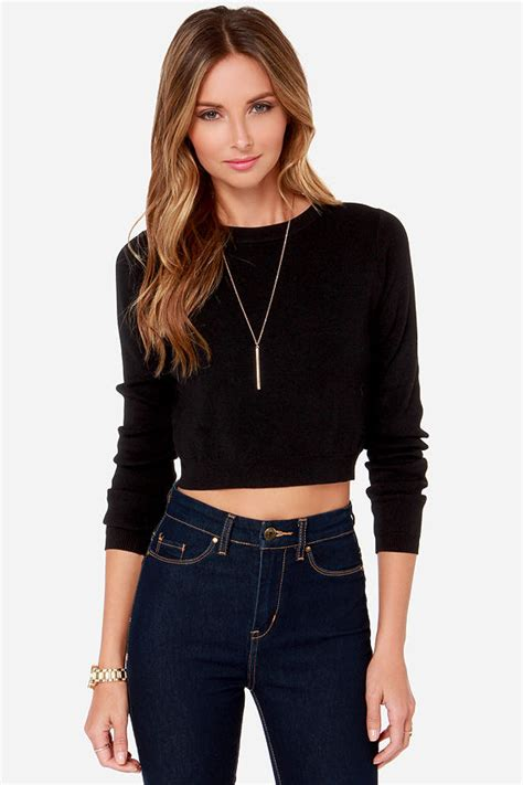 cropped black sweater crop top sweater top black top 49 00