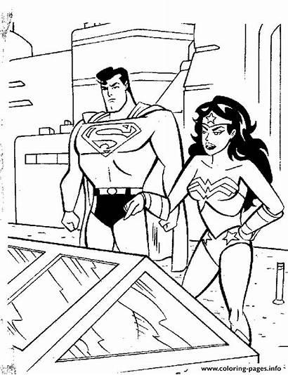 Coloring Pages Superman Wonderwoman Printable