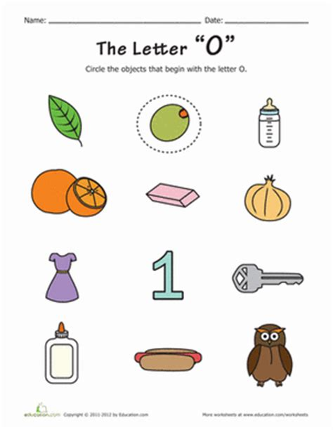 words with the letter o things that start with o worksheet education 50328