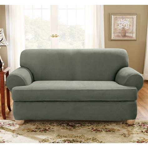Loveseat T Cushion Slipcovers by Sure Fit Stretch Suede Loveseat 2 T Cushion