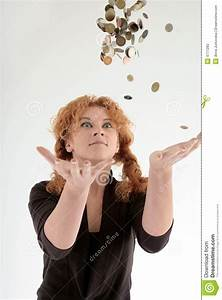 Girl Throwing Coins Into Air Stock Image - Image: 4777283