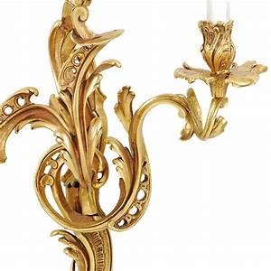 Louis XV French Rococo Style 24kt Gilt Bronze Candelabra